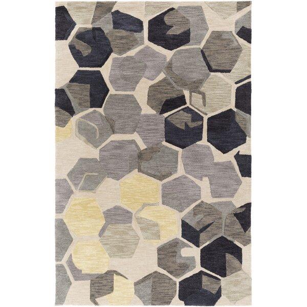 Hebert Hand-Tufted Beige/Gray/Charcoal Area Rug by Wrought Studio