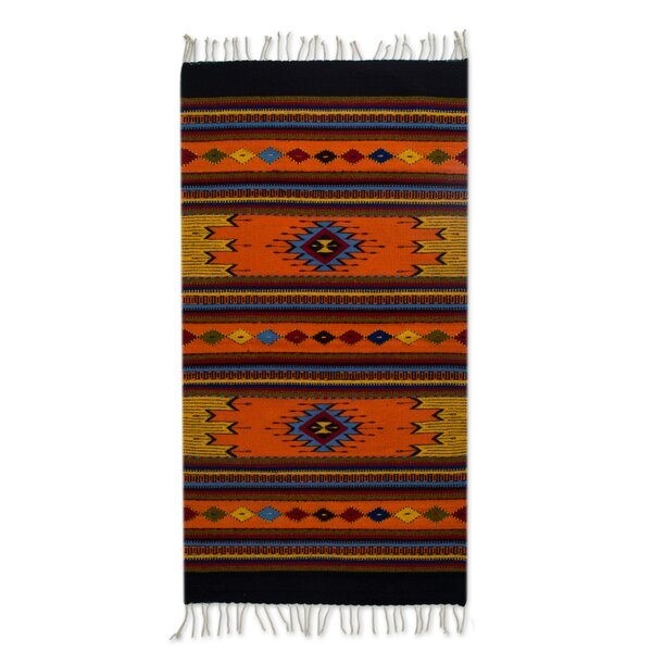 Weare Ancestral Colors Hand-Woven Wool Tangerine/Blue Area Rug by Millwood Pines