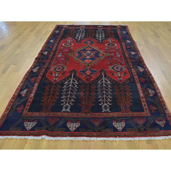One-of-a-Kind Bechard Persian Hamaden with Tree Design Hand-Knotted Red Wool Area Rug by Isabelline