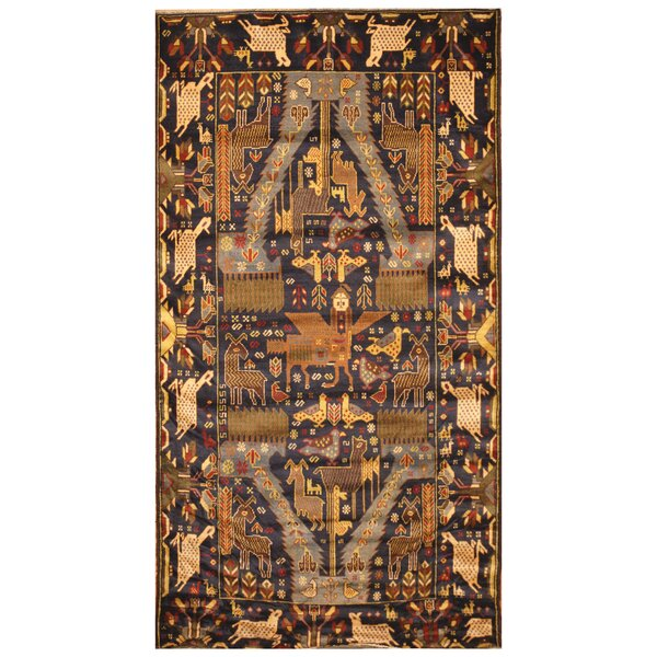 One-of-a-Kind Prentice Hand-Woven Wool Navy/Ivory Area Rug by Isabelline
