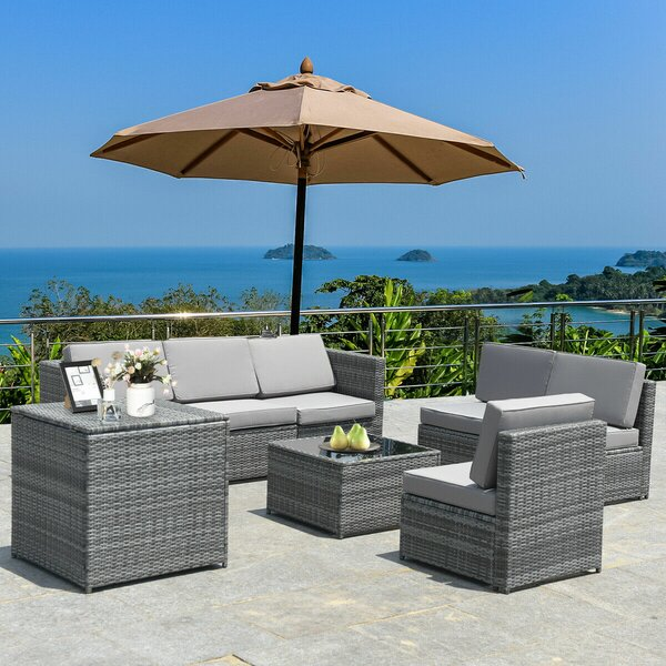 Burand 8 Piece Rattan Sectional Seating Group with Cushions by Ebern Designs