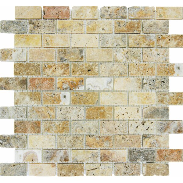 Tuscany Scabas 1 x 2 Travertine Mosaic Tile in Bei