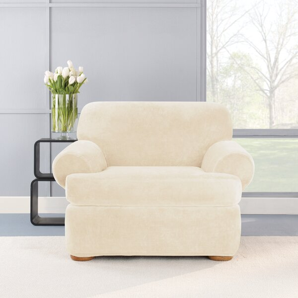Stretch Plush 2 Piece T-Cushion Chair Slipcover Set by Sure Fit