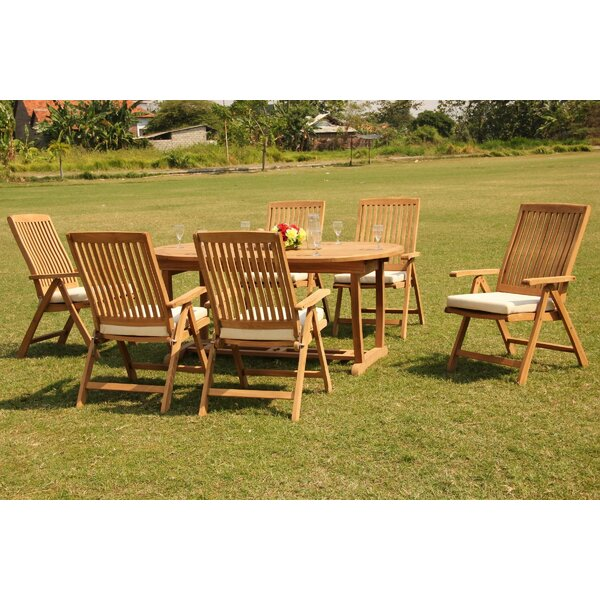 Everson 7 Piece Teak Dining Set by Rosecliff Heights