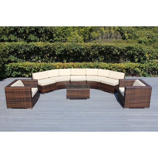 Baril Curved 8 Piece Sectional Seating Group with Cushions by Wade Logan