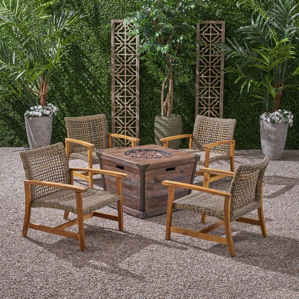 Veans Outdoor Wood and Wicker Club 5 Piece Multiple Chairs Seating Group Set by Bungalow Rose