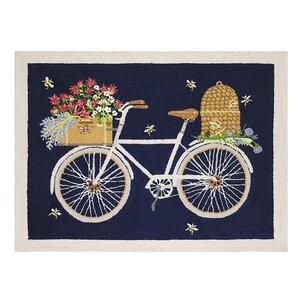 Viens Bike Hand Hooked Wool Black Area Rug
