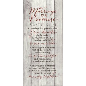 A Marriage Is a Promise… Textual Art Plaque by Dexsa