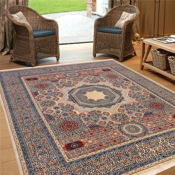 One-of-a-Kind Maarten Hand-Knotted 1960s Heritage Blue/Beige/Red 8'1 x 9'8 Wool Area Rug