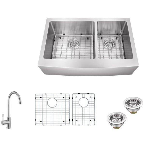 16 Gauge Stainless Steel 35.88 L x 20.75 W Double Basin Farmhouse/Apron 60/40 Kitchen Sink with Gooseneck Faucet by Soleil