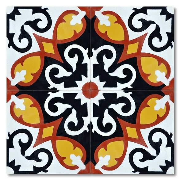 Agadir 8 x 8 Handmade Cement Tile in Multi-Color by Moroccan Mosaic