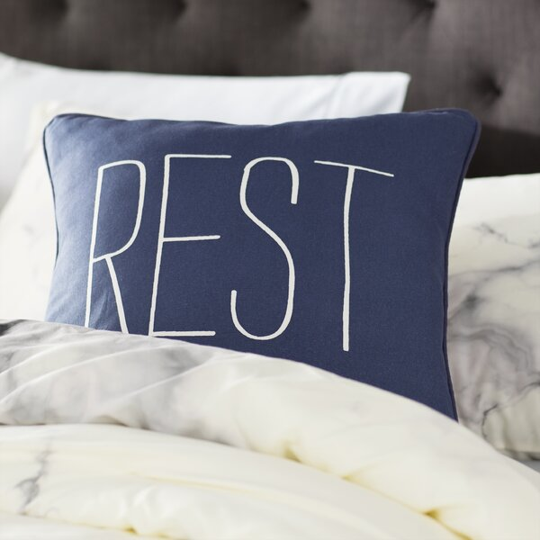Carnell Text Cotton Throw Pillow by Mercury Row