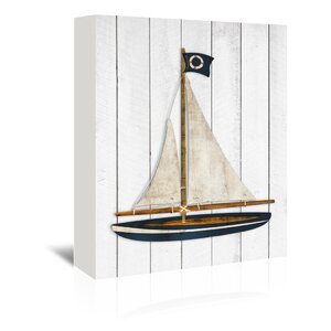 Sailboat Graphic Art on Wrapped Canvas by Breakwater Bay