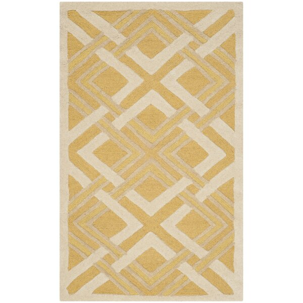 Lattice Hand-Tufted Gold/Ivory Area Rug by Martha Stewart Rugs