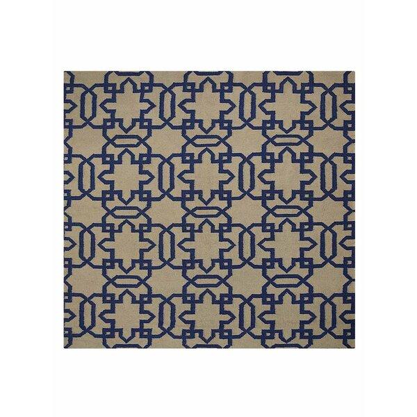 Browner Flat Weave Hand Knotted Wool Cream/Blue Indoor Area Rug by Brayden Studio