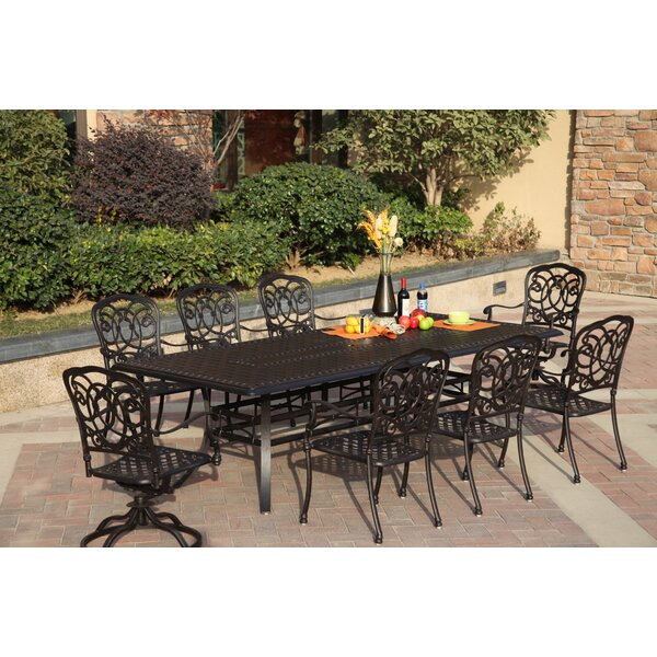 Battista Traditional 9 Piece Dining Set with Cushions by Fleur De Lis Living