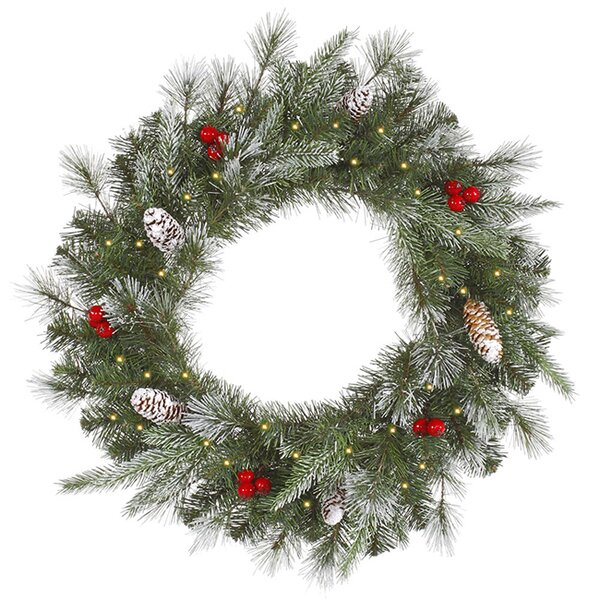 36 Lighted Artificial Frosted Pine Berry Christmas Wreath by Vickerman