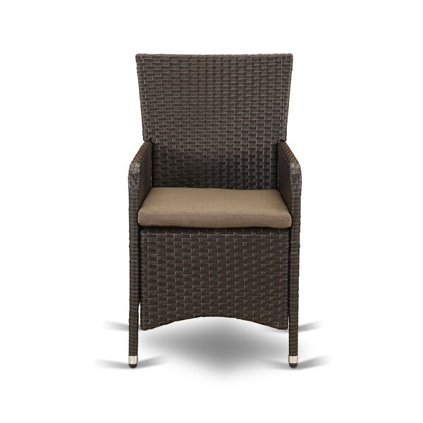 Peavey Outdoor Patio Dining Chair with Cushion (Set of 2) by Wrought Studio