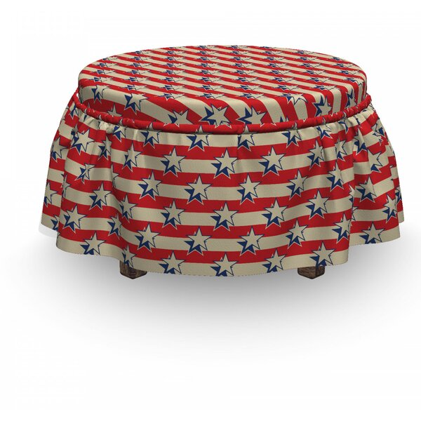 Usa Retro Independence Poster 2 Piece Box Cushion Ottoman Slipcover Set By East Urban Home