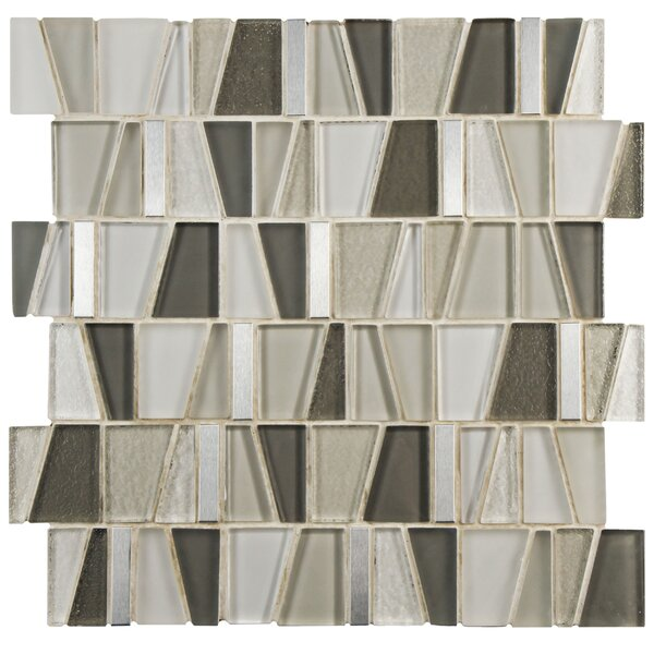 Trapeze 11.87 x 11.75 Glass/Brushed Aluminum Mosaic Tile in Beige by EliteTile
