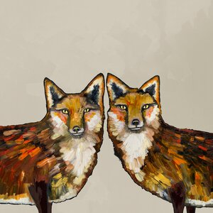 'Fox Duo' by Eli Halpin Painting Print on Wrapped Canvas by GreenBox Art
