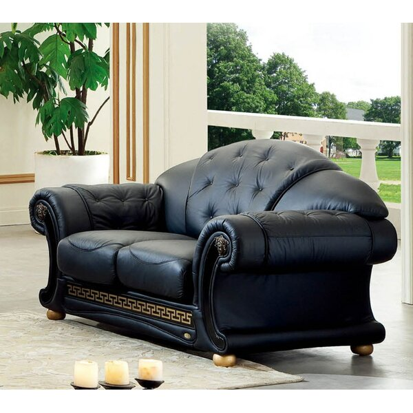 Alexzander Leather Loveseat by Astoria Grand