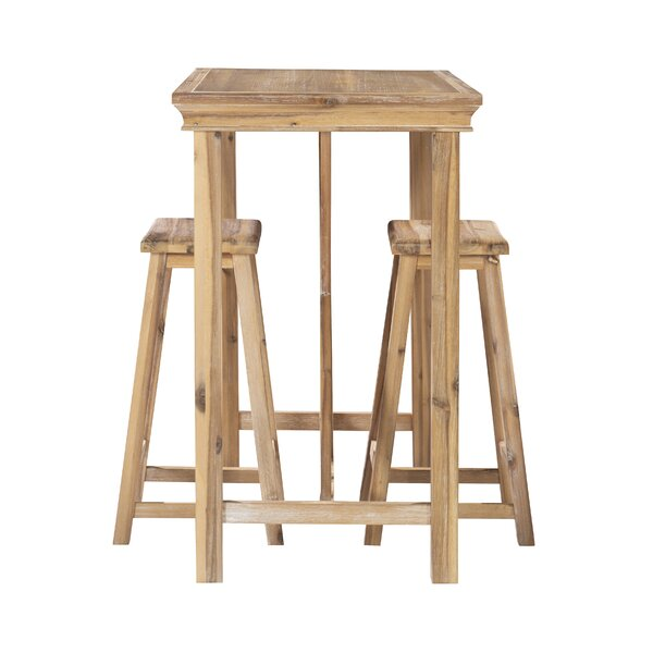 Stephengould 3 Piece Counter Height Solid Wood Dining Set (Set Of 3) By Highland Dunes