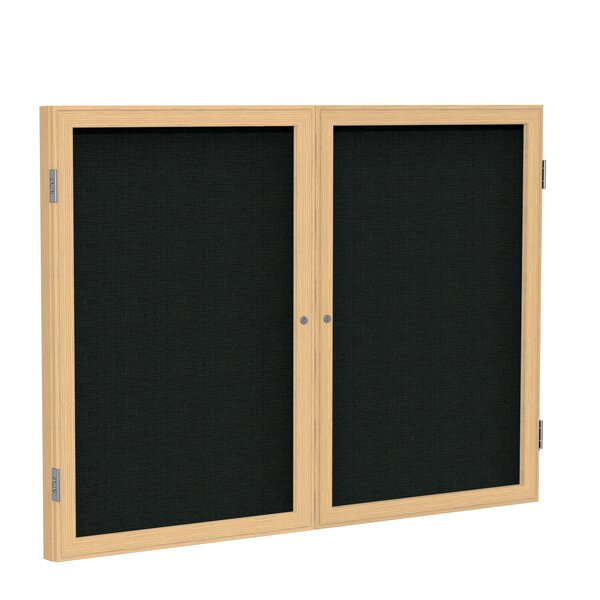 Ghent 2 Door Enclosed Fabric Bulletin Boards with Wood Frame by Ghent
