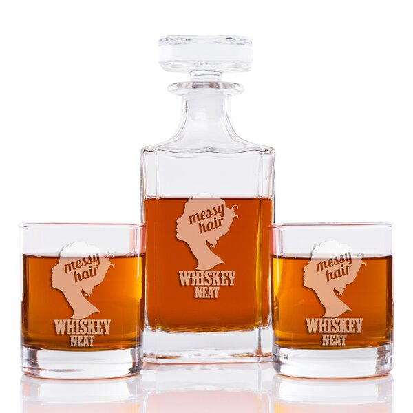 Messy Hair Whiskey Neat Classic Square 3 Piece Beverage Serving Set by East Urban Home