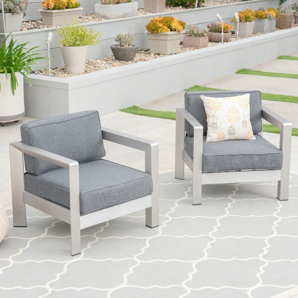 Mcnemar Patio Chair with Cushions (Set of 2) by Orren Ellis