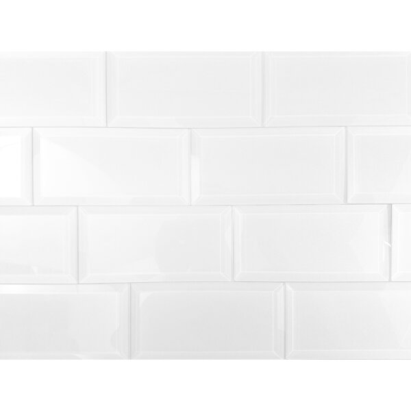 Frosted Elegance 3 x 6 Glass Subway Tile in Glossy White by Abolos