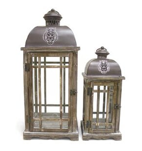 Great Price Decorative Metal/Wood Lantern By August Grove