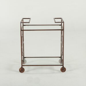 Mirabelle Hand-forged Metal and Glass Bar Cart by World Interiors
