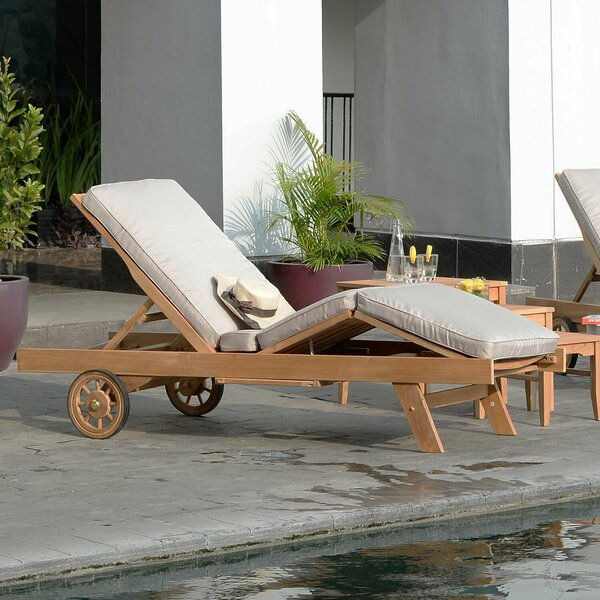 Summerton Reclining Teak Chaise Lounge with Cushion