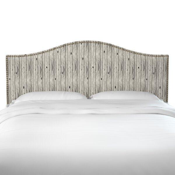 Poyner Shibori Stripe Ink Linen Upholstered Panel Headboard by Brayden Studio
