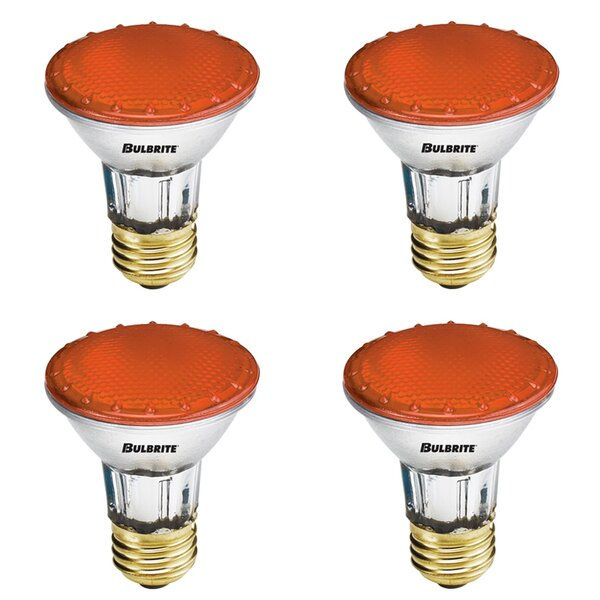 50W E26 Dimmable Halogen Light Bulb Amber (Set of 4) by Bulbrite Industries