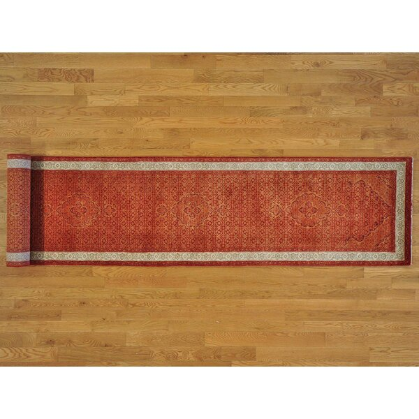 One-of-a-Kind Beason Hand-Knotted Orange Wool Area Rug by Isabelline