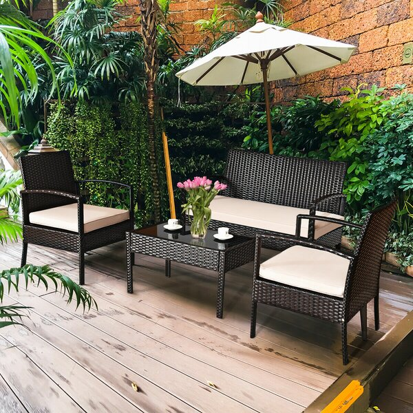 Bequia 4 Piece Rattan Sofa Seating Group with Cushions by Red Barrel Studio