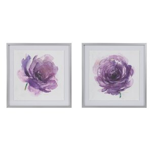 'Purple Ladies Rose' 2 Piece Framed Watercolor Painting Print Set on Paper by Madison Park Signature