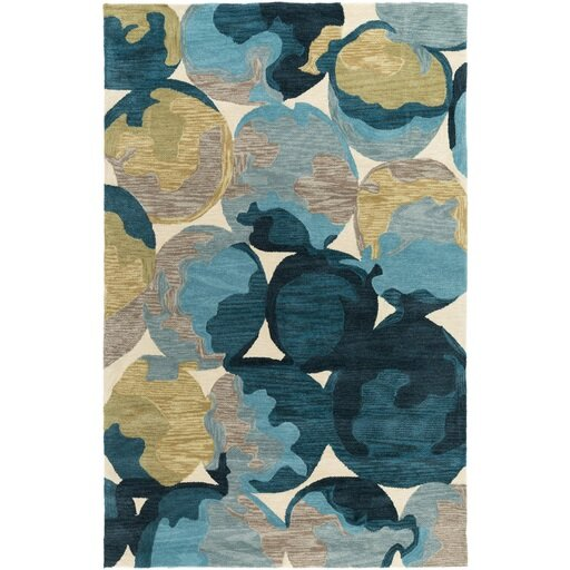 Dittmar Hand-Tufted Butter/Blue Area Rug by Ebern Designs