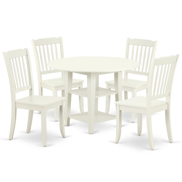 Lanclos 5 Piece Drop Leaf Solid Wood Dining Set by August Grove
