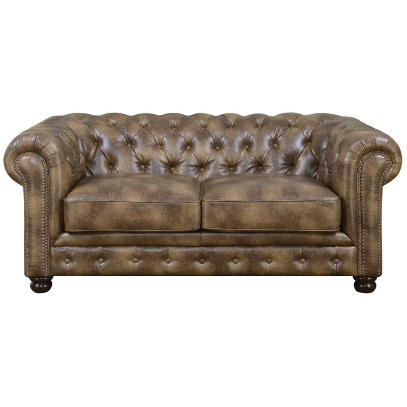 Trent Austin Design Caine 72 Wide Faux Leather Rolled Arm Chesterfield Sofa Reviews Wayfair