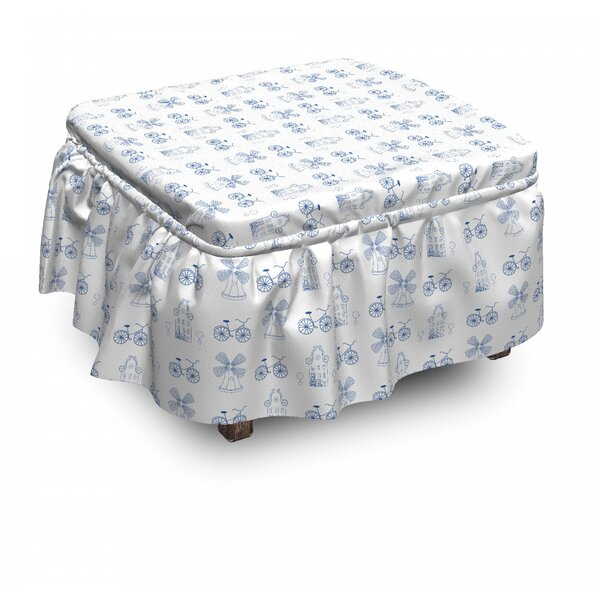 Bicycle Dutch Ornament Drawings 2 Piece Box Cushion Ottoman Slipcover Set By East Urban Home