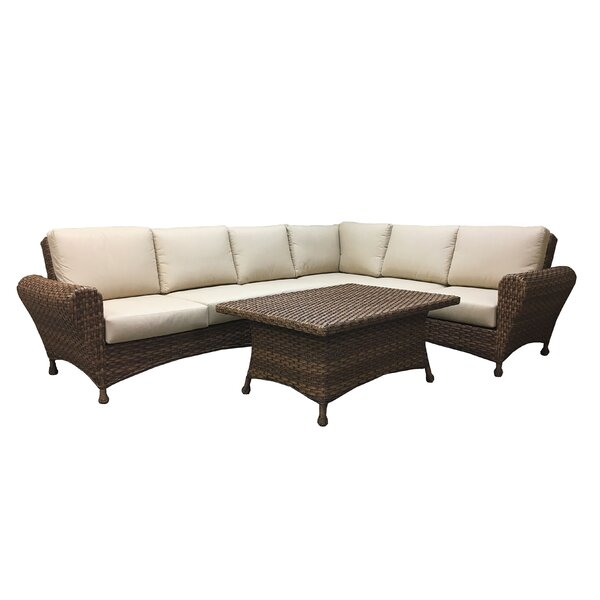 Wanamaker 5 Piece Rattan Sunbrella Sectional Seating Group with Cushions by One Allium Way