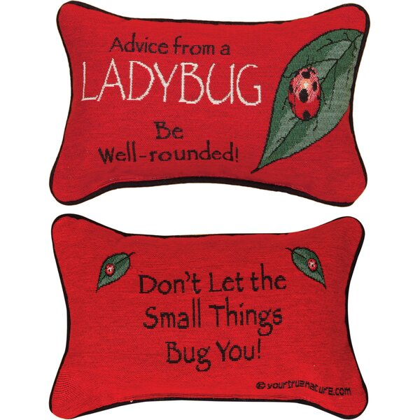 Advice from a Lady Bug Word Lumbar Pillow by Manual Woodworkers & Weavers
