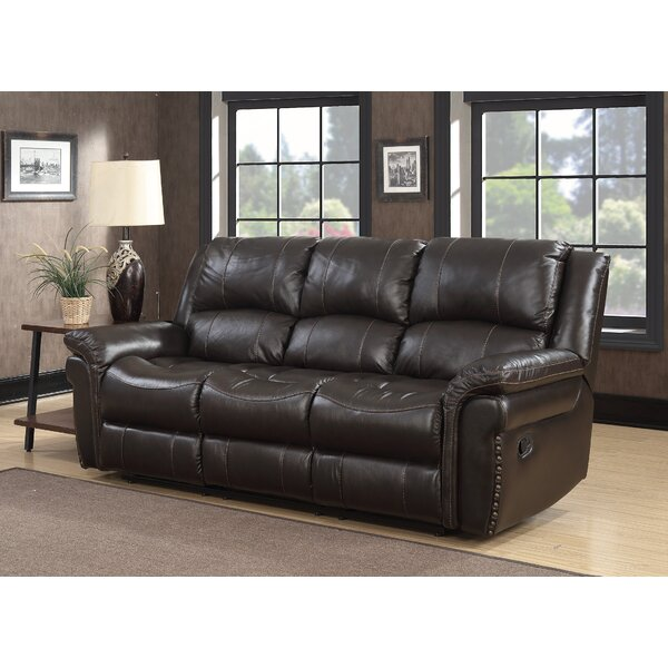 Valuable Today Everardo Leather Reclining Sofa by Darby Home Co by Darby Home Co