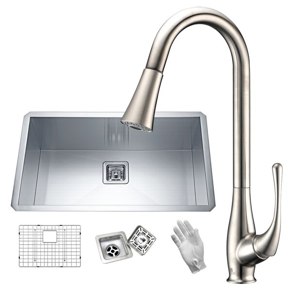 Vanguard Stainless Steel 32 L x 19 W Undermount Kitchen Sink with Faucet by ANZZI