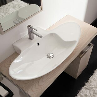 Compare prices Zefiro Ceramic 36 Wall Mount Bathroom Sink with Overflow ByScarabeo by Nameeks