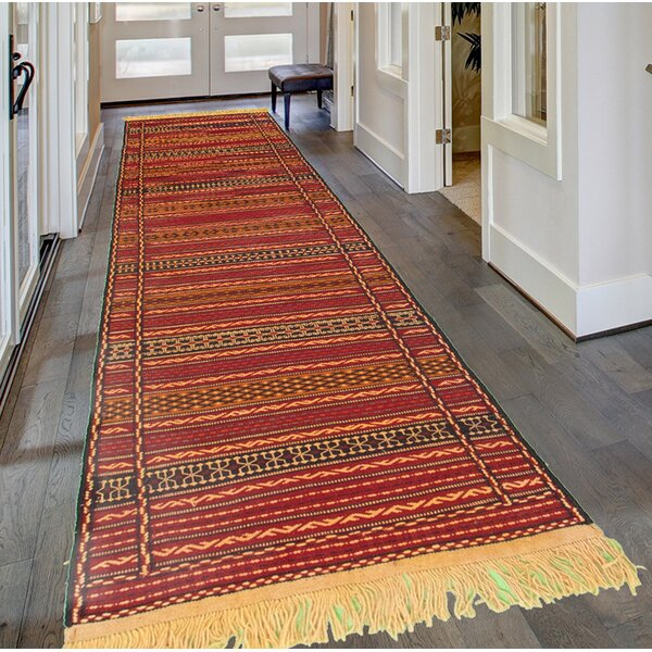 Fondren Handmade Kilim Wool Dark Red/Brown Rug