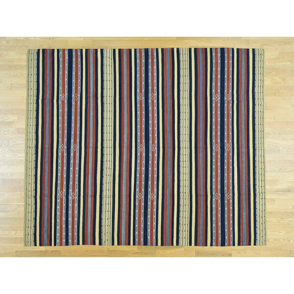 One-of-a-Kind Cobden Qashqai Striped Handmade Kilim Wool Area Rug by Isabelline